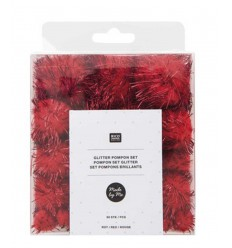 Set de pompons brillants rouge (60pcs)