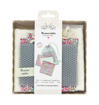 Kit de 6 lingettes Liberty + sac filet
