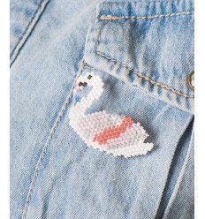 Kit brick stitch - Broche cygne
